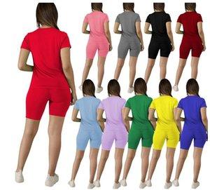 Más el tamaño de las mujeres del algodón cortocircuitos de verano chándal de dos piezas de manga corta traje traje sólido llano Sweatsuit de Deporte LY611