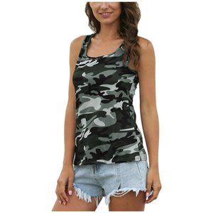 2020 Summer Style Women's Camouflage Fashion Wild O-Neck Sleeveless Vest Tops Ladies Slim Vest Bralette Material Lightweight