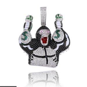 Jinao Nuovo Scimpanzé moda con la borsa di dollari pendente collana di Hip Hop con Campo catena fuori ghiacciato zircone cubico