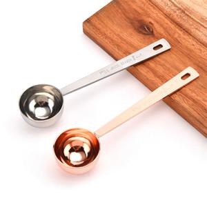 15ML الصغيرة القهوة سكوب قياس ملعقة مقياس الفولاذ المقاوم للصدأ 304 مادة الفضة روز الذهب أداة قياس