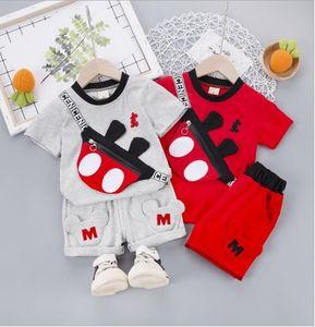 2020 popular summer cartoon short sleeve children's suit cotton children's suit with bag shorts two sets wholesale