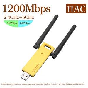 Mini USB 3.0 Adaptador Wifi 1200Mbps Antena Receptor WiFi Tarjeta de red inalámbrica 802.11ac para computadora de escritorio Tablet PC Teléfono