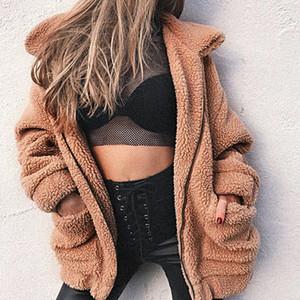 Abrigo de piel sintética para mujer Diseñador 2018 Otoño Invierno Chaqueta de piel con cremallera suave y abrigada Abrigo de felpa para mujer Ropa de abrigo informal