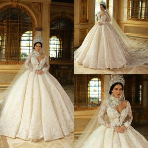 Princess 2020 Plus Size Wedding Dresses High Collar 3D Floral Appliques Ball Gown Sweep Train Sparkly Beading Long Sleeve Wedding Dress