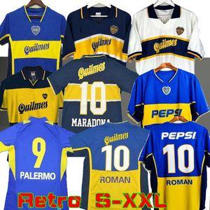 97 98 Boca Juniors Retro Soccer Jersey Maradona ROMAN Caniggia 1997 96 2002 03 PALERMO Camisetas de fútbol Maillot Camiseta de Futbol 2005 2001