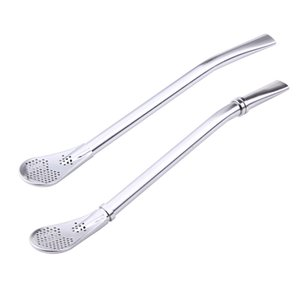 Spoon Tea Filter Yerba Mate Tea Straws Stainless Steel Drinking Straw Bombilla Gourd Reusable Tea Tools Washable Bar Accessories