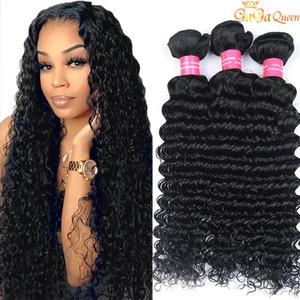 Atacado 8A peruana profunda Curly cabelo humano tece peruana Virgin Cabelo onda profunda peruana brasileira Malásia cabelo indiano Weave Pacotes