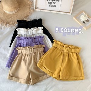 Woemn Wide-leg Elastic Flower Shorts With Sashes Summer New Casual Female Loose Straight High Waist Shorts