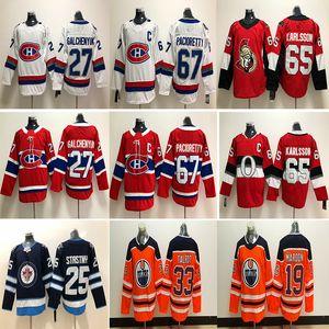 Montreal Canadiens Senadores de Ottawa Edmonton Oilers Jersey 67 Max Pacioretty 65 Shaw 65 Jerseys de hockey sobre hielo Erik Karlsson