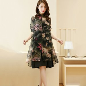 Fashion Women Clothing Sets Women Knee-Length Dress + Print Chiffon Covers Up Suits hc T200702