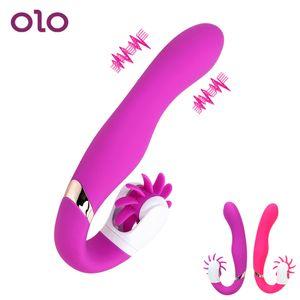 Olo G-punkt Vibrator Rotation Oral Zunge Lecken Klitoris Stimulator Weibliche Masturbator Sexspielzeug Für Frauen Erotische Sex Produkte SH190801