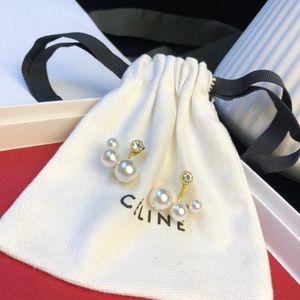 dernières élégantes Mme Lettres concepteur boucles d'oreilles Double couches Cristal Perle Oreille Goujons Boucles D'oreilles Fille Bijoux mode