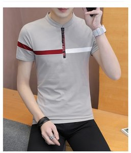 Mens Designer Tshirts Stripe Moda Impresso Crew Neck Tees com Zipper manga curta Tops Mens Sumemr