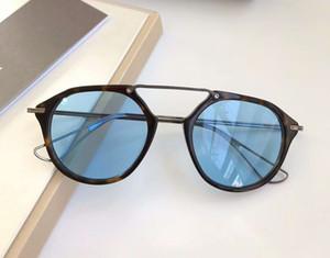 레트로 거북이 블랙 아이언 선글라스 블루 렌즈 상자 119 차양 남성 선글라스 안경 새로운