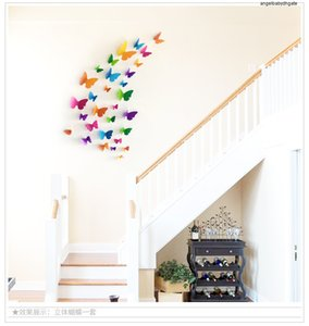 3d Pvc Multicolor Butterfly Wall Sticker Art 30pcs Decal Living Room Solid Color Butterflies For Home Decor Mural Diy Decals