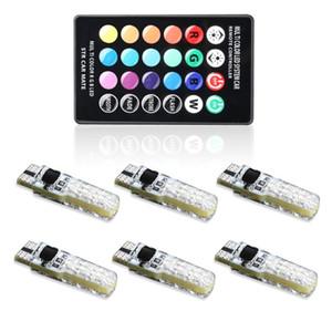 6 x RGB Led T10 W5W Bombillas para auto con control remoto 194 168 501 RGBW Led lámpara de lectura Luces de cuña Strobe 12V Silicona 5050SMD