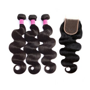 Indian Virgin Hair 3 Bundles Wholesale Body Wave With 4X4 Lace Closure With Baby Hair Wefts With Closure Four By Four