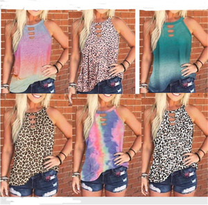 Women T-shirt Summer Sleeveless vest Top Leopard Tie-dye Style Pullover Tees Shirts Ladies Round Neck Bloouse Casual Clothes S-3XL D61201