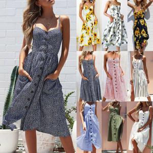 여름 여성 드레스 2019 빈티지 섹시한 보헤미안 꽃 튜닉 비치 드레스 sundress에 포켓 레드 화이트 드레스 줄무늬 2019 핫 판매
