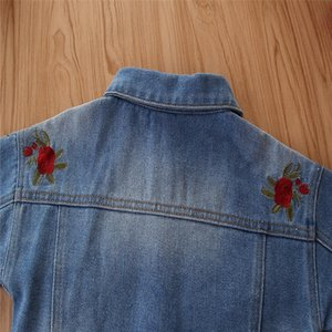 LOOZYKIT Girl Denim Jacket Coat Flower Rose Embroidery New fashion Children's Autumn Coat Kids Jacket Baby Boys Girls Coat