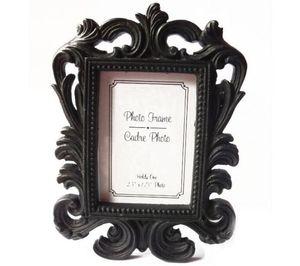 50pcs / Lot Estilo Vitoriano Resina whiteblack barroco Imagem / Photo Frame Suporte cartão do lugar do chuveiro do casamento Bridal Favors presente