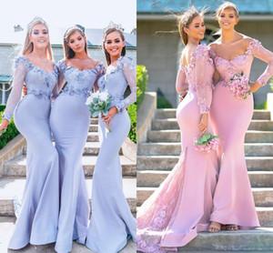 2019 elegante pura manga longa sereia vestidos de dama de honra barato feito à mão apliques flor madrinha de casamento vestidos de convidados do casamento bm0606