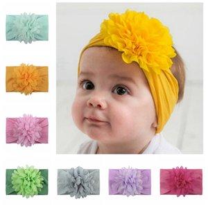 Детского шифон цветок Hairband малыши Упругого пион цветок Тюрбан Baby Girl Big Цветочные оголовья Твердые Головной убор Аксессуары 13 Цвет HHA1181