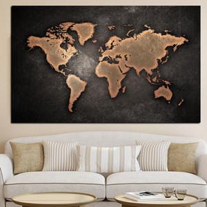 Peinture abstraite Toile Planisphère Peinture classique noir Carte du monde sur la toile Office Salle Accrochage Art Home Decor