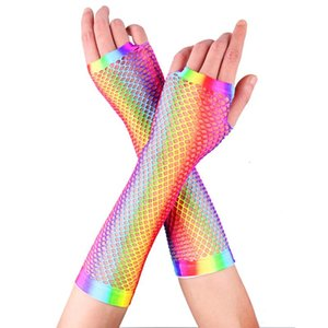 TiaoBug Women Colorful Retro Stretchy Nylon Fishnet Fingerless Sexy Gloves Female Festival Rave Dance Party Costume Accessories