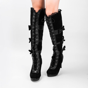 Women Thigh High Boots Gothic Lolita Bows Knee-high Boot Spike Heels Shoes Leather Lace Up Boot Female Round Toe Platform Boots
