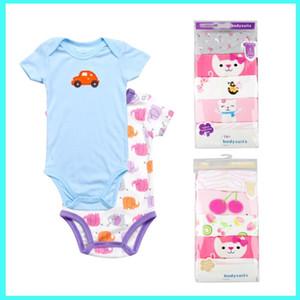 5PCS / set Unisex Top Quality bebê macacãozinho manga curta Cottom O-Pescoço 0-24M Novos recém-nascidos Rapazes Meninas Roupas de bebe bebê veste DH001