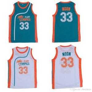 Flint Tropics Film Sürümü # 33 Jackie AY İşlemeli Basketbol Jersey boyut S-XXL yeşil beyaz damla nakliye