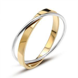 2020 European and American New Titanium Steel Fashion Double Ring Bracelet Hot Rose Gold Double Ring Bracelet Wholesale Z006