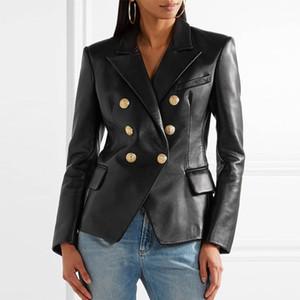 Piel de las mujeres del invierno del otoño de pecho doble Negro abrigos Mujer Casual Turn Down cuello delgado PU chaqueta de cuero Tops