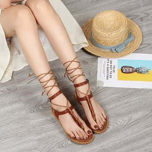 Bandage Women Lady Heeled Sandals Boots Flat Summer Shoes female Large Size Knee High Gladiator Sandals 2019 New Plus Size Y200702