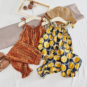 Ins children's clothing baby girls two-piece outer wear fruit leaves the sling child nine points anti-mosquito pants