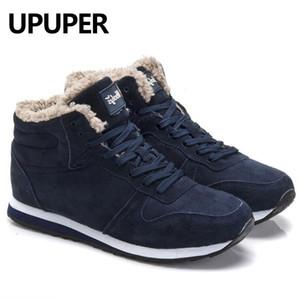 Más el tamaño de las zapatillas de deporte de invierno de los hombres de invierno genuino caliente de cuero de los zapatos ocasionales de los hombres de la felpa de los zapatos al aire libre unisex del deporte para los hombres azul