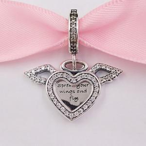 Auténticos 925 cuentas de plata esterlina alas del ángel del corazón encantos cuelgan el encanto se adapta al estilo europeo joyería de Pandora 798485C collar de las pulseras