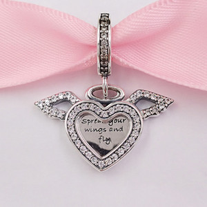 Auténticas 925 cuentas de plata esterlina Heart Angel Wings Dangle Charm Charms Fits European Pandora Style Jewelry Pulseras Collar 798485C