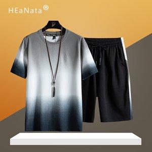 Yaz Seti Erkekler Nedensel Plaj Suits 2020 Moda Gevşek Eşofman Erkek Sportsuits Tişörtlü + Şort Pantolon Erkek Spor XXXXL ayarlar