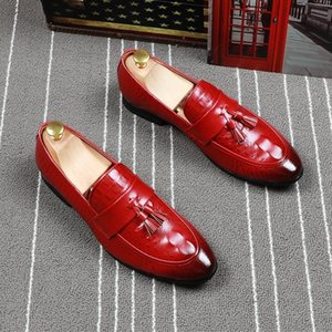 Fairy2019 Leather Sharp Man Shoes Nappe rosse Set Foot Loafer Ventilation Dawdler Doug England Trend Scarpe maschili