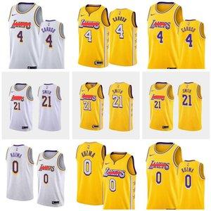 Men basketball LosAngelesLakers4 Caruso 0 Kuzma 21 Smith yellow white purple city Swingman sleeveless Jersey