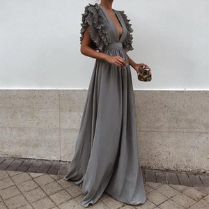 2018 New Summer Women New Arrival Sexy V Neck Short Sleeves Maxi Dress Backless Solid color dress Six colors