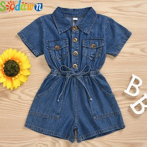 Sodawn Short Sleeve Toddler Baby Girl Clothes 2020 Summer Denim Jumpsuit One-Piece Outfit Sunsuit Clothes Kids Girl Clothes T200707
