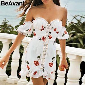 BeAvant 우아한 여름 꽃 무늬 여름 드레스 여성 빈티지 레이스 업 프릴 짧은 드레스 캐주얼 비치 화이트 프린트 vestido