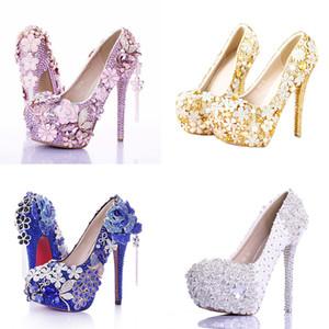 Scarpe da sposa con plateau e scarpe da damigella d'onore con strass e perle di cristallo