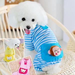 hthome listrado de quatro patas roupas bolso algodão pet pijama pet pijama gato de algodão Teddy roupa do cão outono e inverno