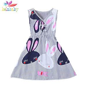 Belababy Dress Summer Girls 2017 New Kids a strisce floreale senza maniche con stampa Beach abito per la ragazza del fumetto Vestido Infantil 3-7Y