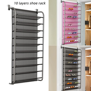 36 Pair Over Door Hanging Shoe Rack 10 Tier Shoes Organizer Wall Mounted Shoe Hanging Shelf For Home Dormitory Shoes 1pc LJ201125