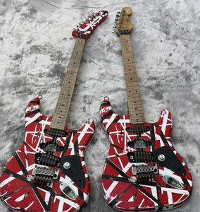RARO Reliquia pesante Edward Van Halen Frankenstein Chitarra elettrica nera a strisce bianche rosse Floyd Rose Special originale, Corpo in ontano, Manico in acero